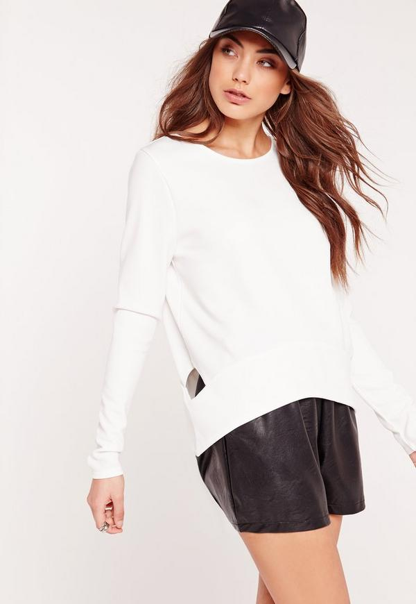 Cut Out Side Scuba Sweatshirt White