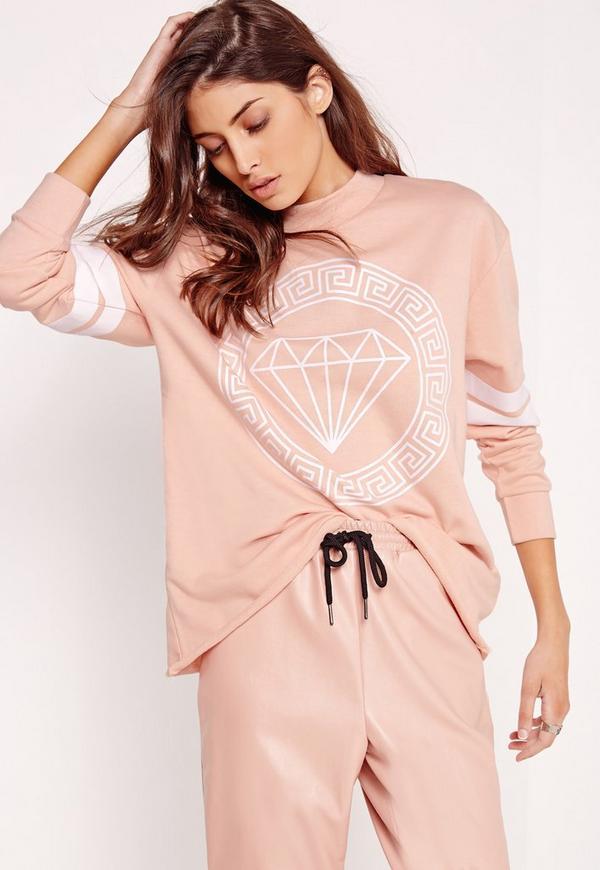 Diamond Front Print Sweatshirt Nude