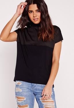 Turtle Neck Perforated Tank Top Black