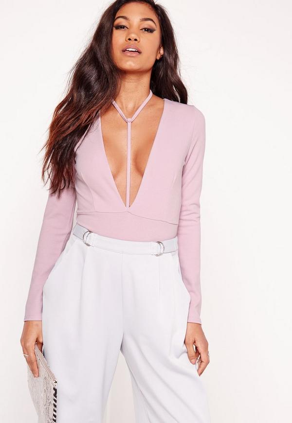 Harness Neck Long Sleeve Bodysuit Lilac