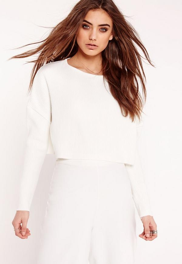 Crew Neck Ribbed Cropped Sweatshirt White
