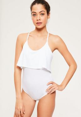 Double Layer Jersey Frill Bodysuit White