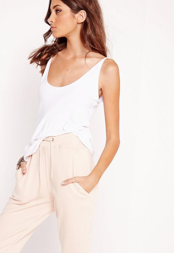 Extreme Scoop Neck Cami Vest White