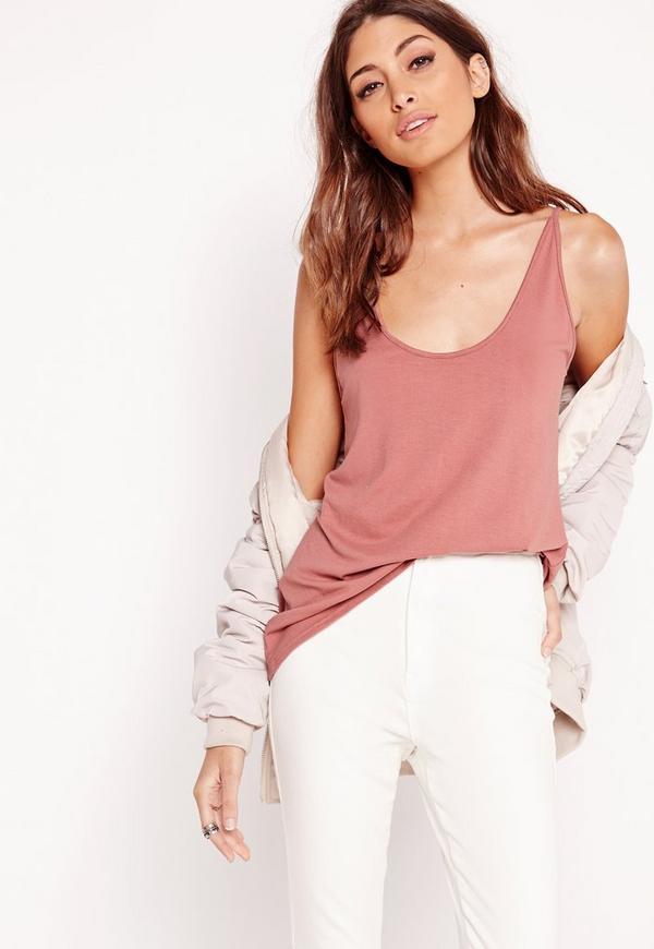 Extreme Scoop Neck Cami Vest Pink