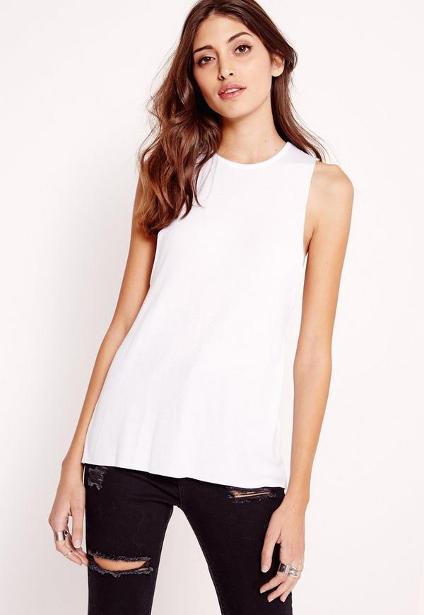 Drop Armhole Tank Vest Top White
