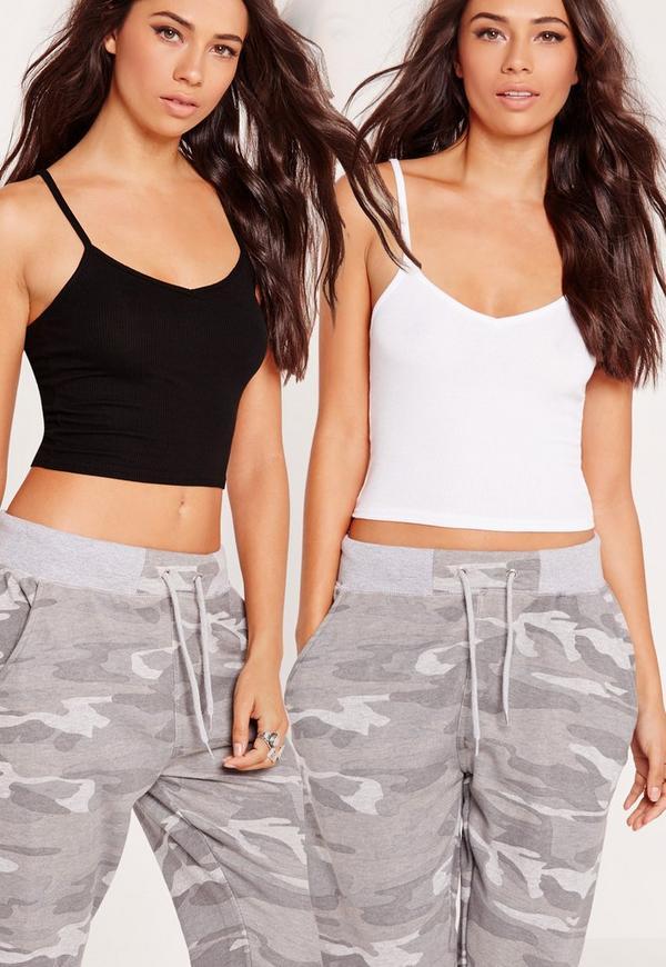 2 Pack Jersey Cami Crop Top Black/White