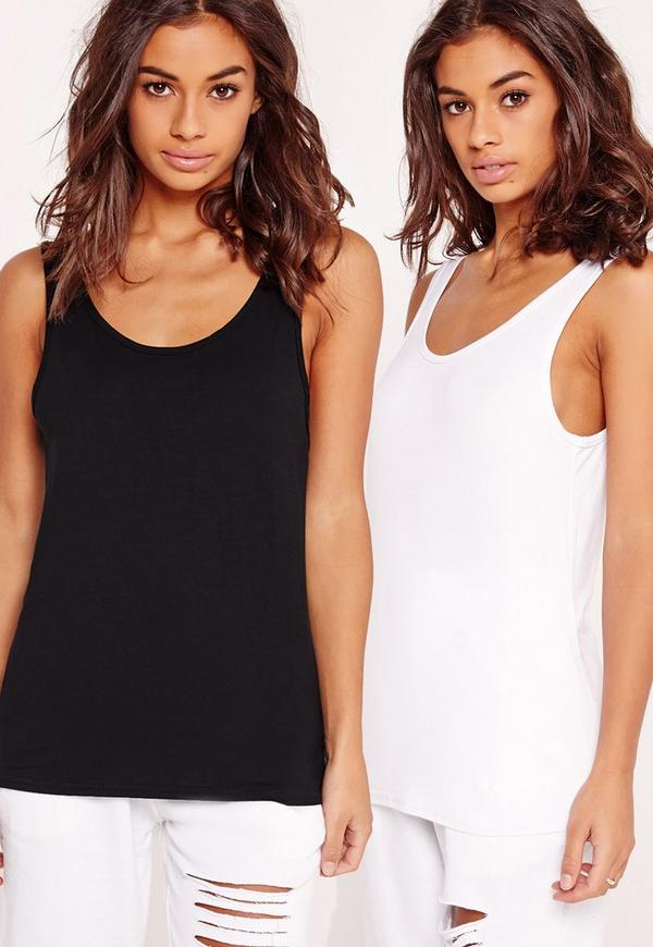2 Pack Basic Jersey Vest Top Black and White