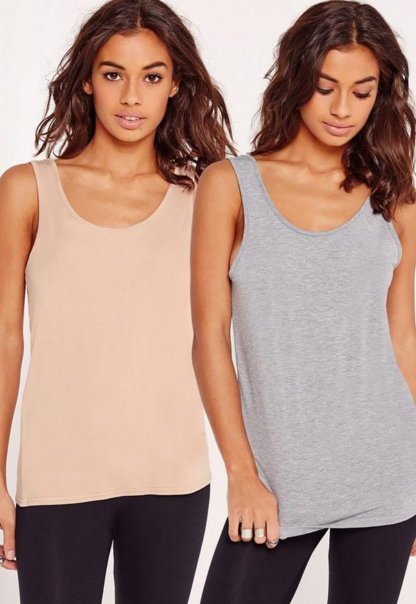 2 Pack Basic Jersey Top Nude and Grey