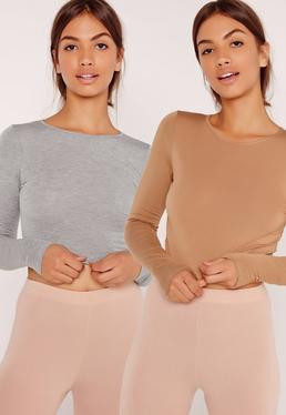 Two Pack Long Sleeve Crop Top Camel and Grey