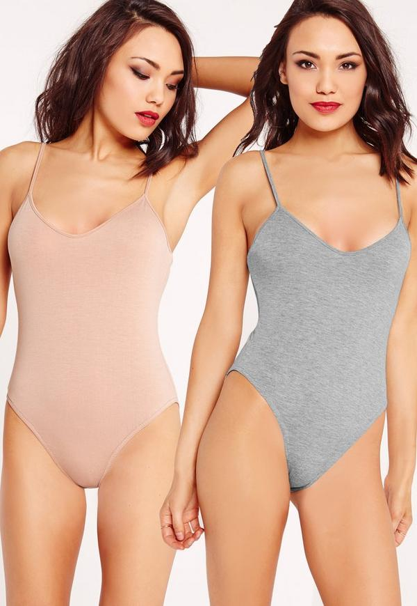 2 Pack Cami Bodysuit Pink/Grey