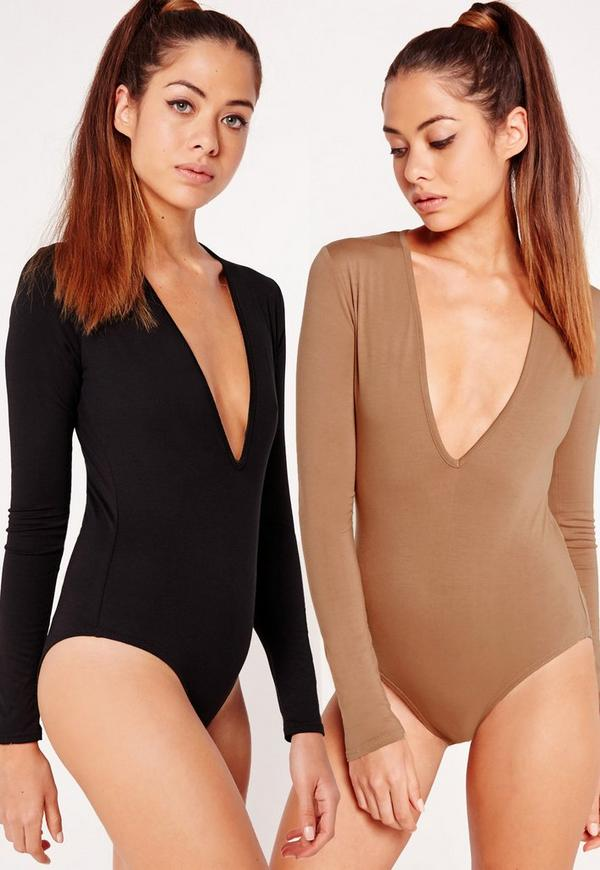 Two Pack Long Sleeve Plunge Neck Bodysuit Black and Camel
