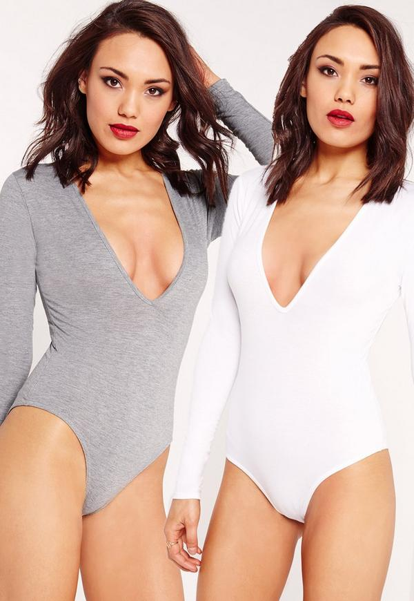 Two Pack Long Sleeve Plunge Neck Bodysuit White and Grey