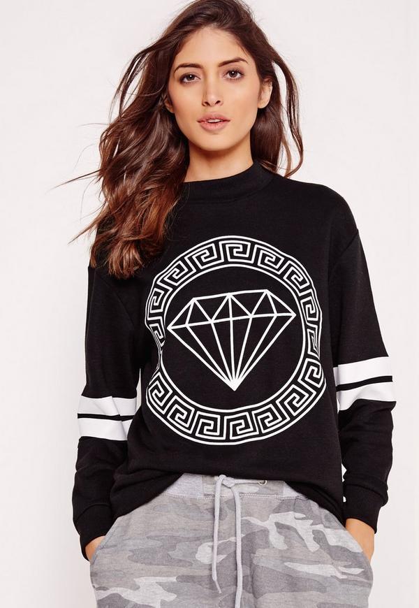 Diamond Front Print Sweatshirt Black