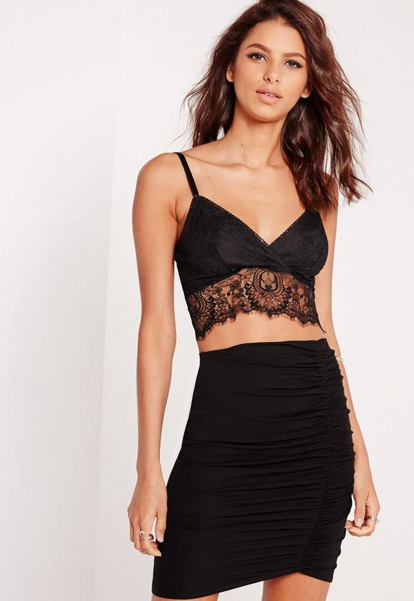 Lace Trim Bralet Black
