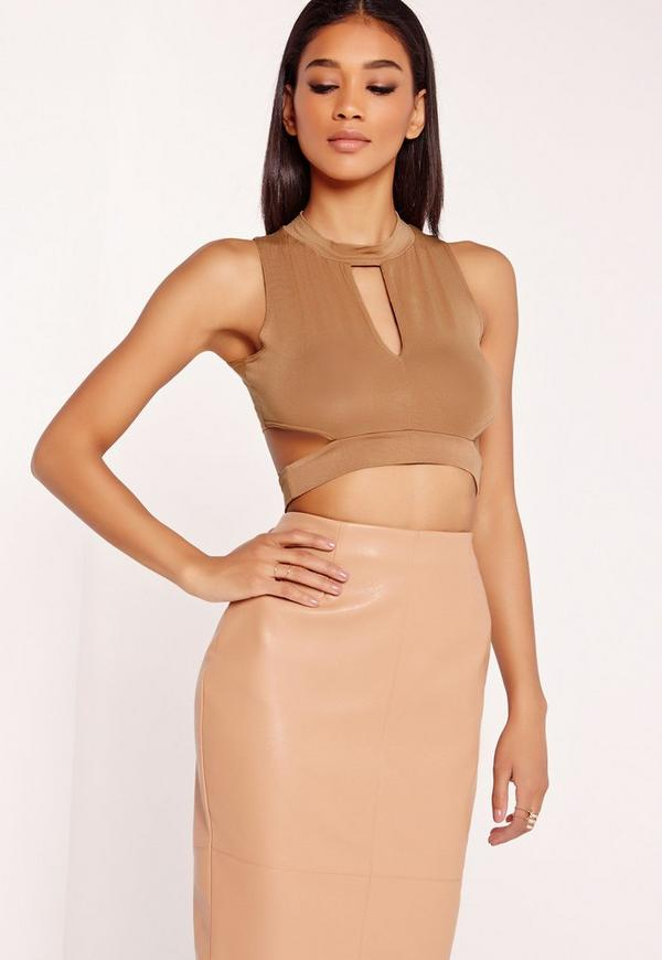 Cut Out Wrap Crop Top Camel