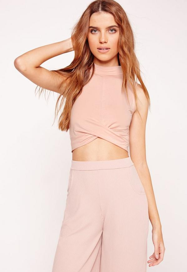 Turtle Neck Wrap Hem Crop Top Nude