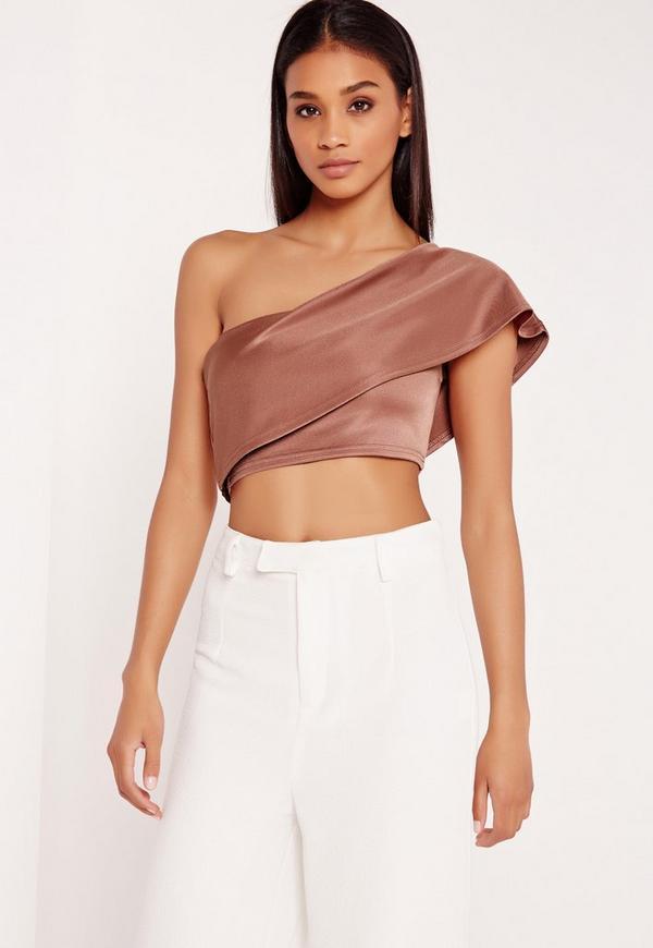 One Shoulder Crop Top Pink