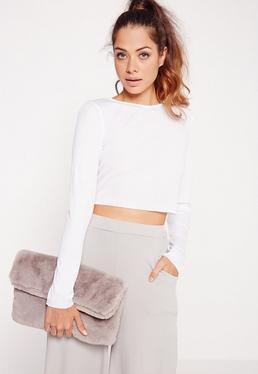Rib Long Sleeve Raw Hem Crop Top White