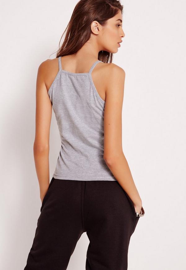 Cami Wrap Detail Crop Top Grey