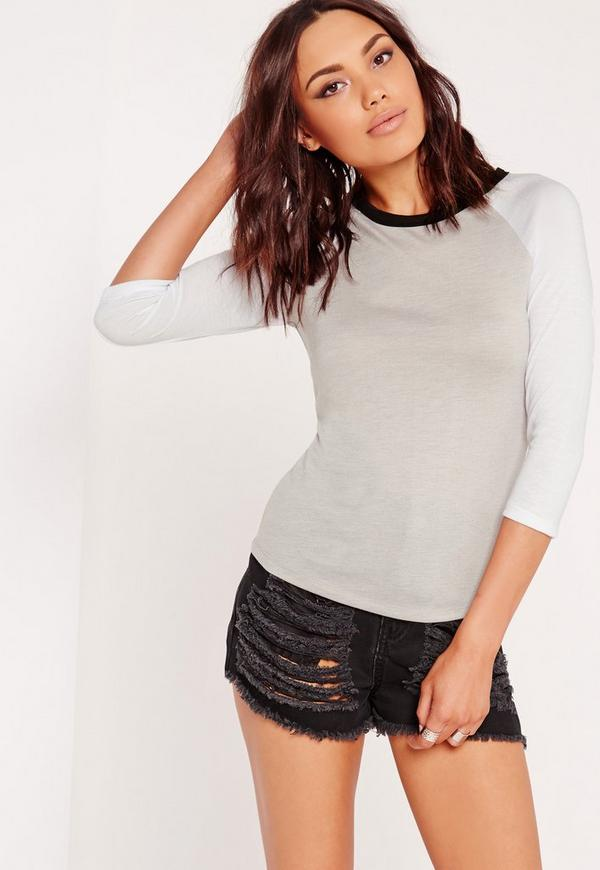 Contrast Raglan T Shirt Grey