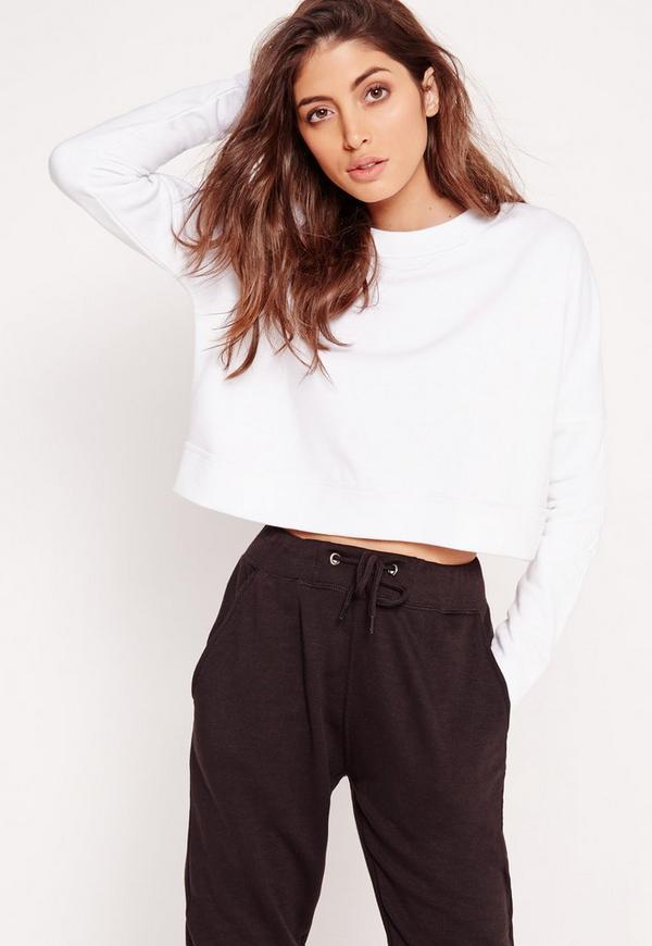 Extreme Crop Sweatshirt Top White