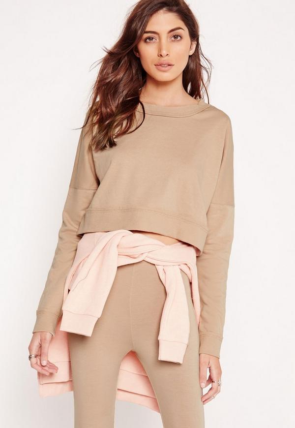 Extreme Crop Sweatshirt Top Camel