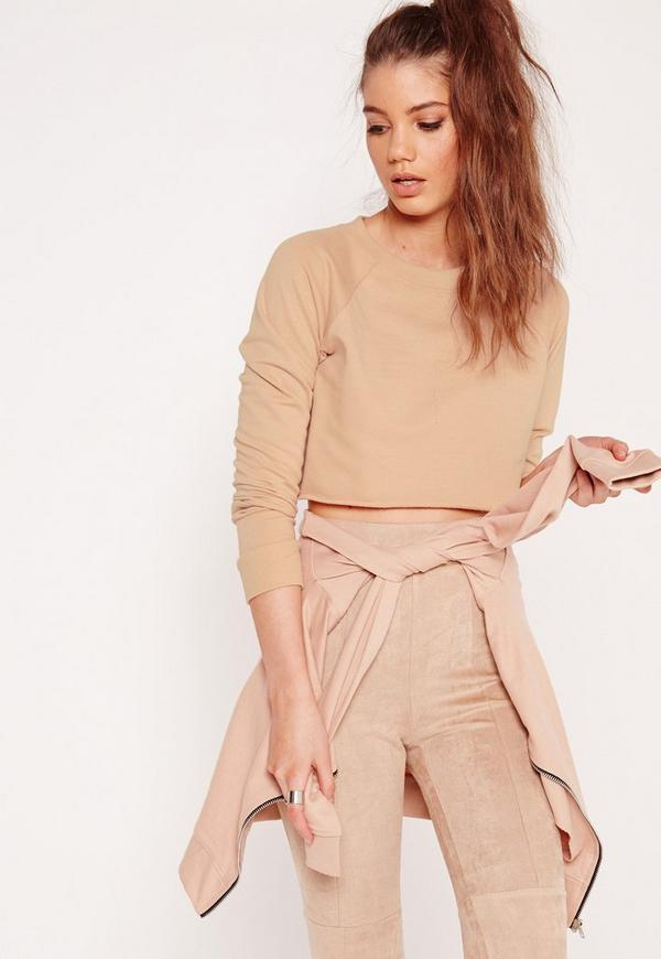 Cropped Raw Hem Sweater Nude