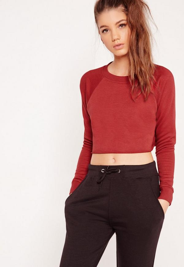 Crop Raw Hem Sweatshirt Red