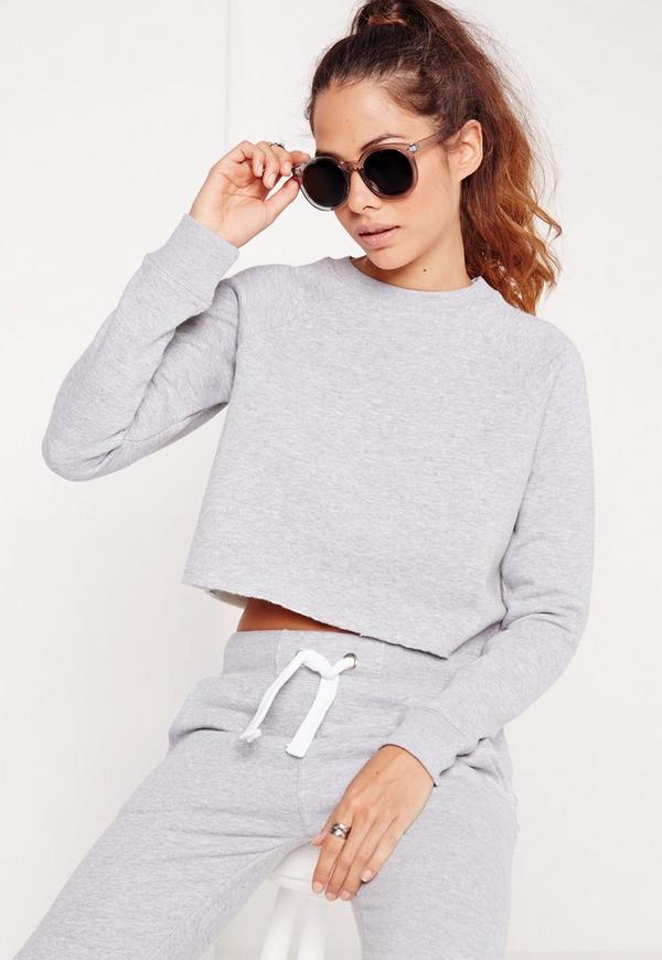 Cropped Raw Hem Sweater Grey