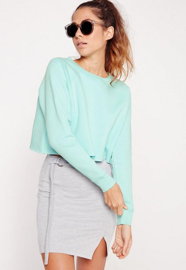 Cropped Raw Hem Sweater Green