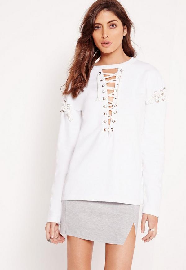 Extreme Lace Up Sweatshirt White