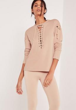 Extreme Lace Up Sweatshirt Pink