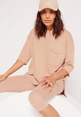 Kurzärmliges Sweatshirt mit Tasche in Nude