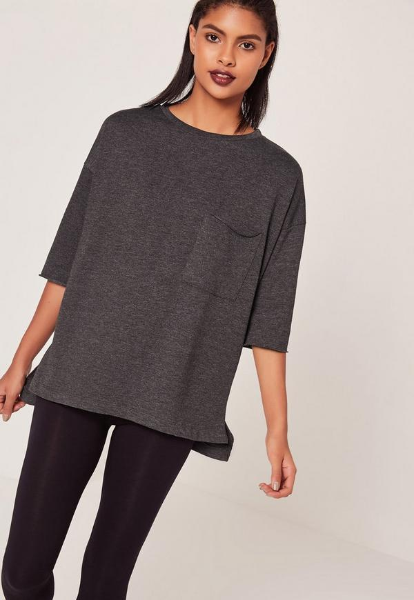 Pocket Front T Shirt Sweater Dark Grey