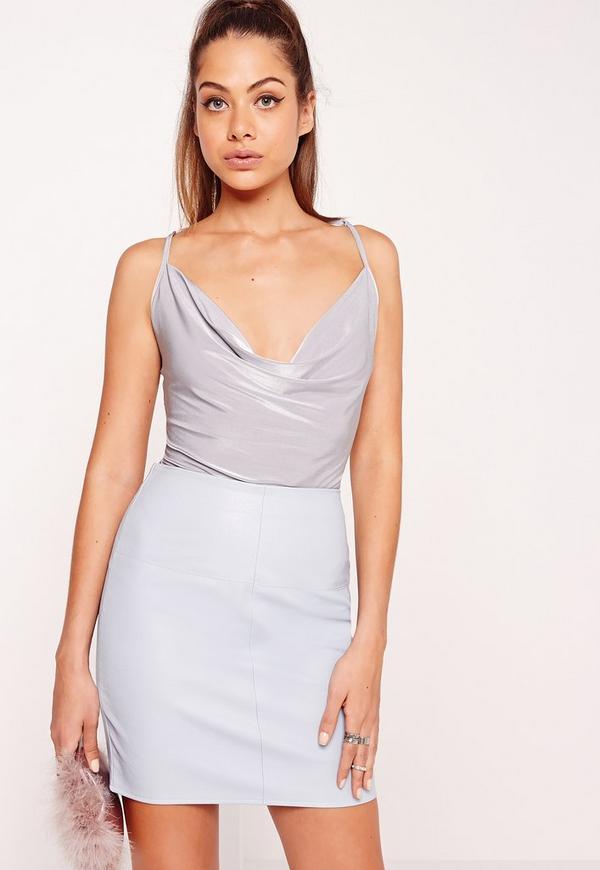 Slinky Cowl Neck Bodysuit Grey