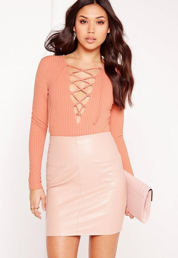 Ribbed Lace Up Front Long Sleeve Bodysuit Orange