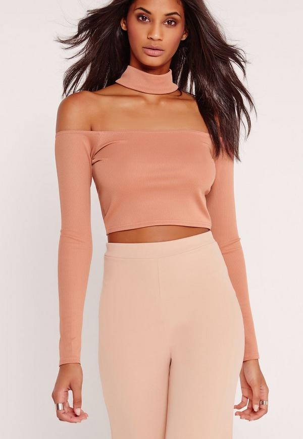 Choker Ribbed Crop Top Pink