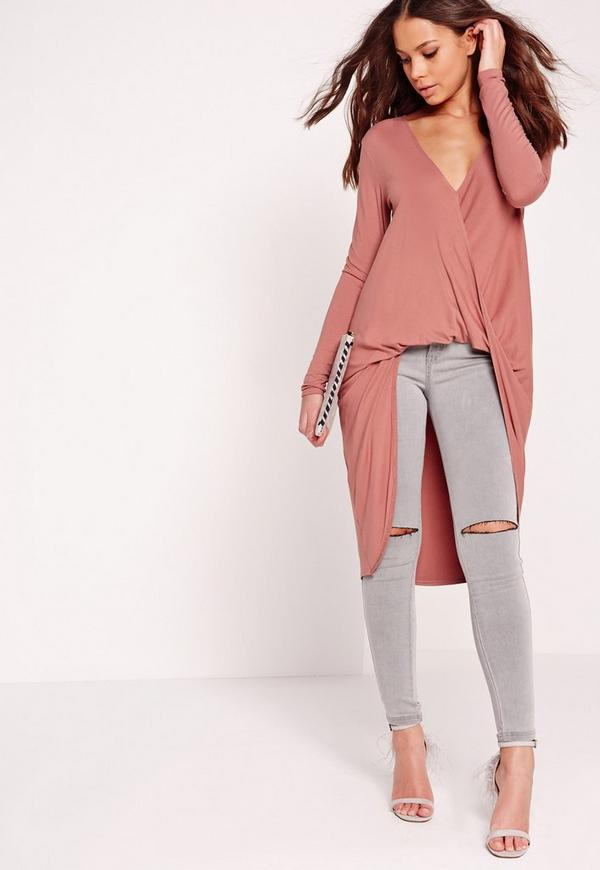 Extreme Twist Front Tunic Rose