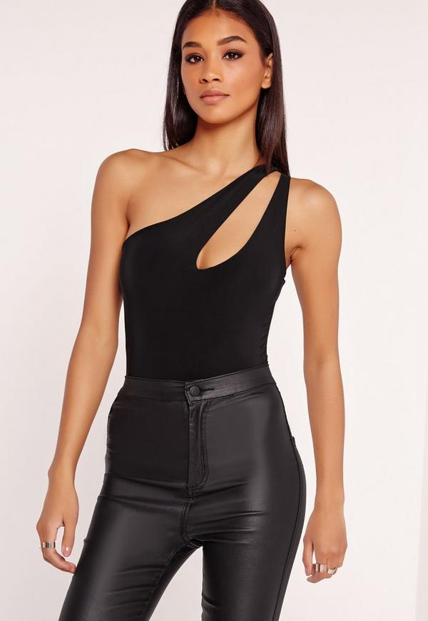 One Shoulder Cut Out Bodysuit Black