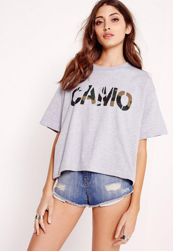 Camo Slogan Cropped T-Shirt Grey