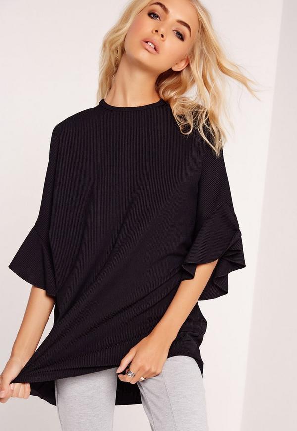 Ribbed Flare Shoulder Sweatshirt Black