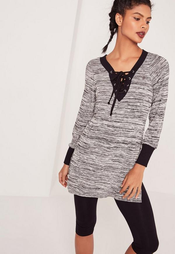 Longline Lace Up Co-Ord Top Grey Marl