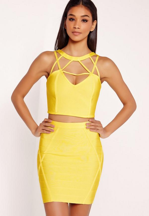 Premium Bandage Strappy Neck Crop Top Yellow