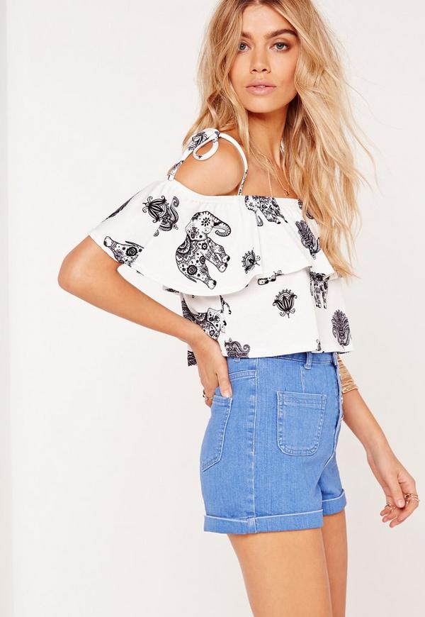 Frill Elephant Print Crop Top White