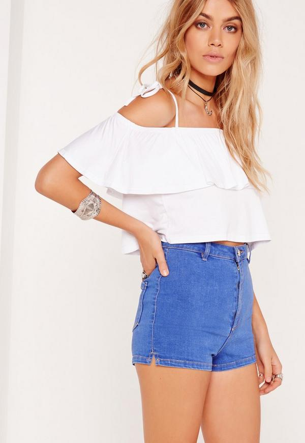 Frill Layered Strappy Crop Top White