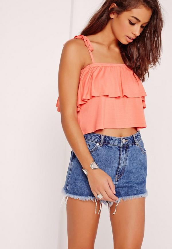 Frill Layered Strappy Crop Top Orange