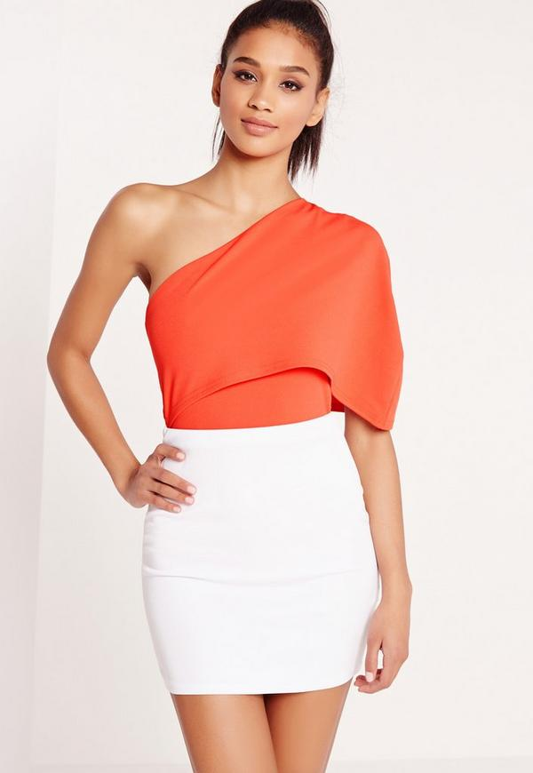 Cape One Shoulder Bodysuit Orange