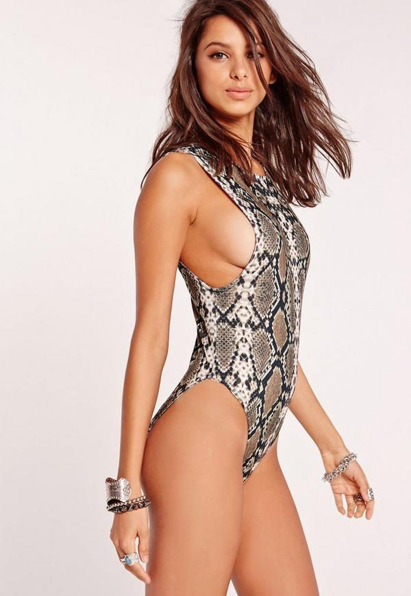 Drop Arm Snake Print Bodysuit Brown