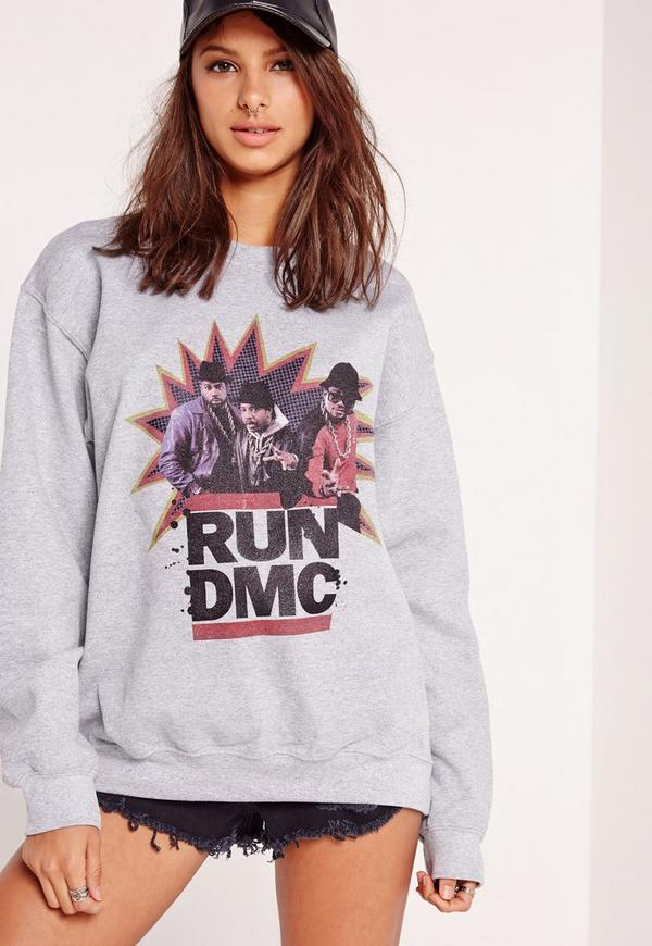 Run DMC Slogan Sweatshirt Grey