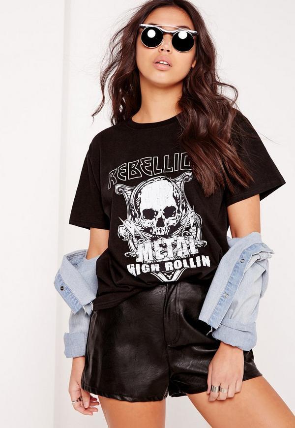 Rebellion Slogan T Shirt Black